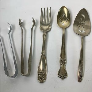 Five vintage mixed lot silver plate serving pieces